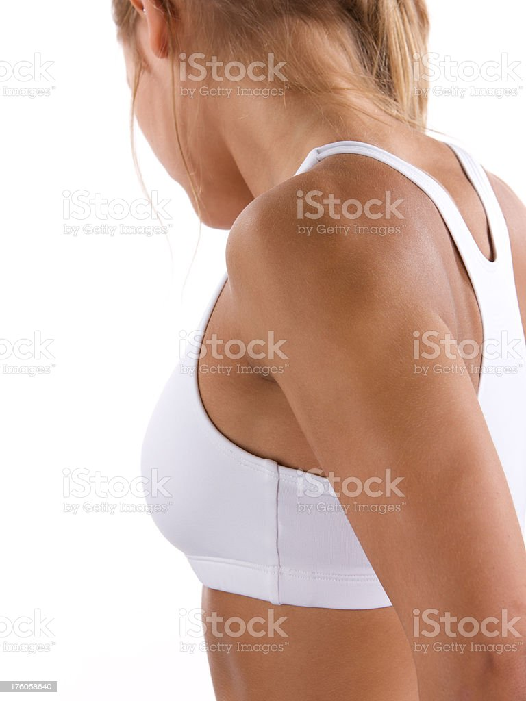 Side view of young athletic woman royalty-free stock photo
