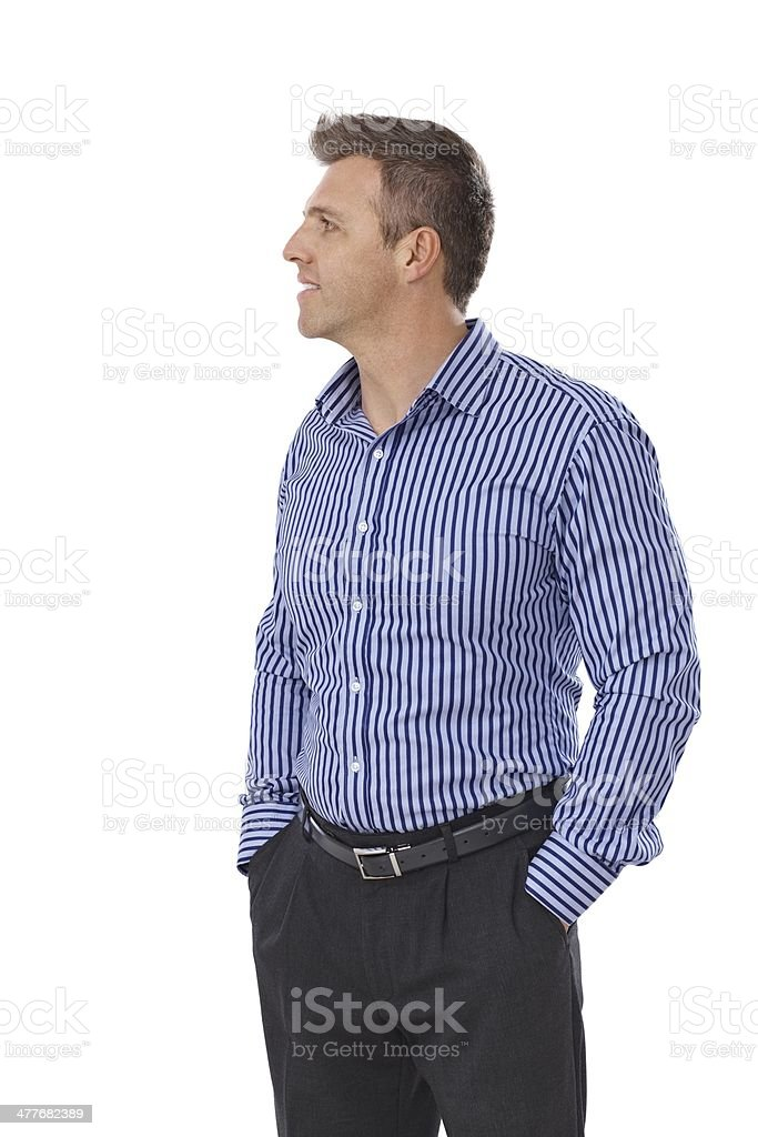 Side view of young businessman stock photo