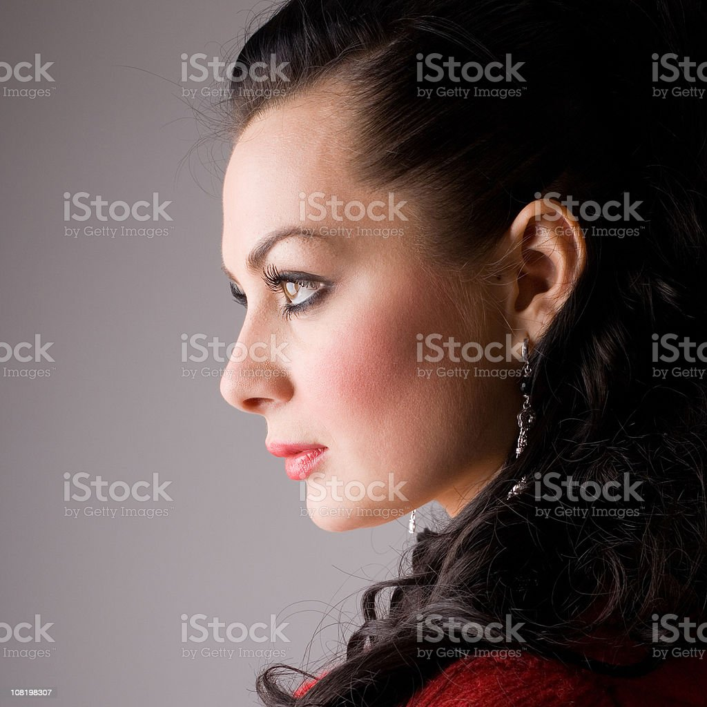 Side View of Young Woman royalty-free stock photo