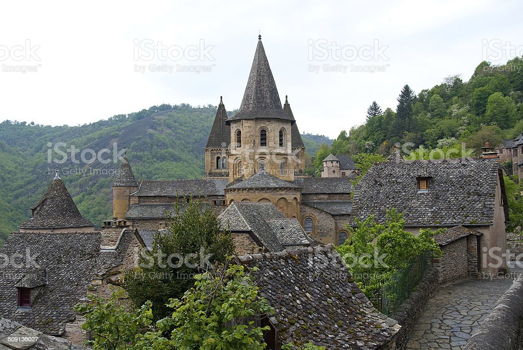 Side view on the Abbey of Saint-Foy at Conques, France stock photo