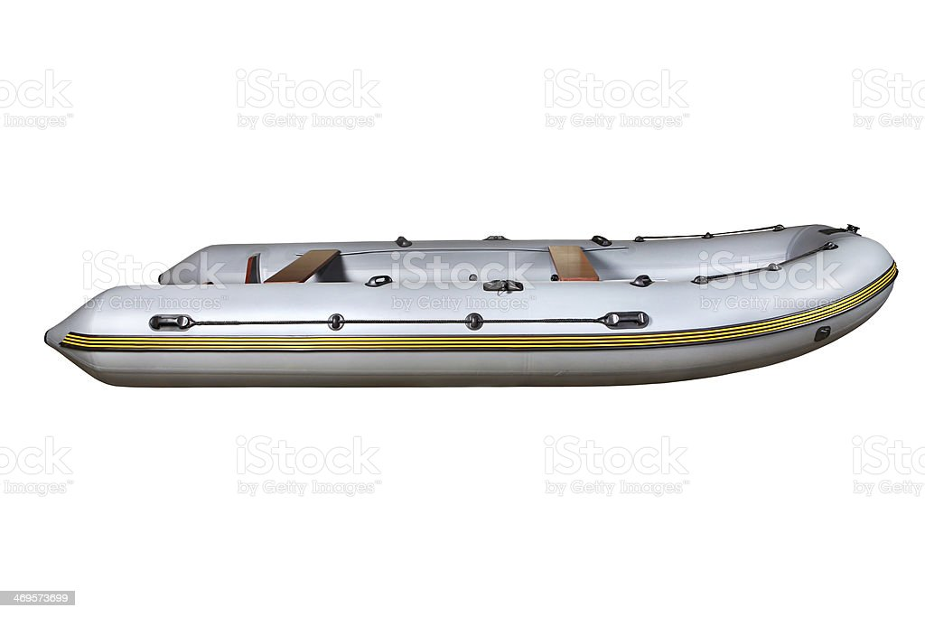 Side view on the gray inflatable rubber boat Dinghy PVC. stock photo