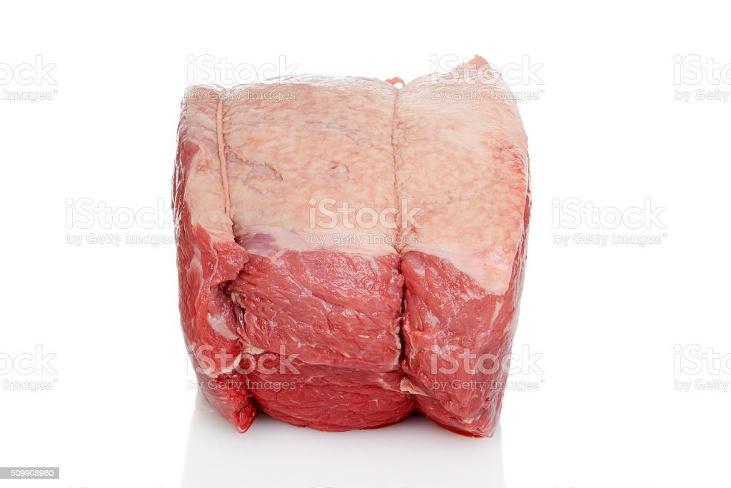 side view outside round beef roast stock photo