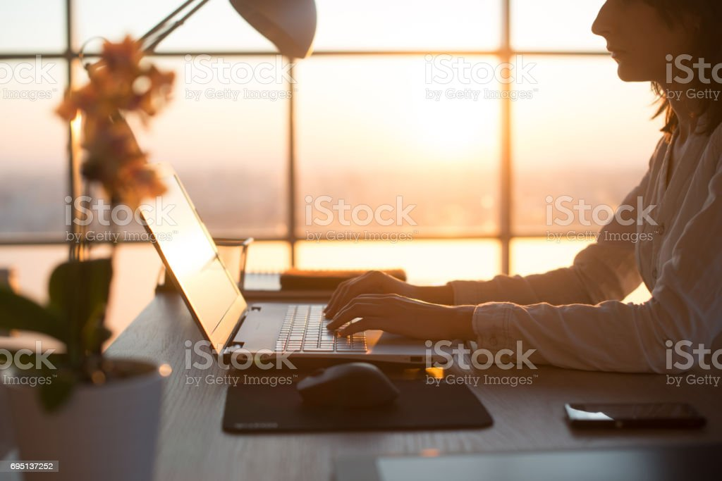 Side view photo of a female programmer using laptop, working, typing, surfing the internet at workplace. stock photo