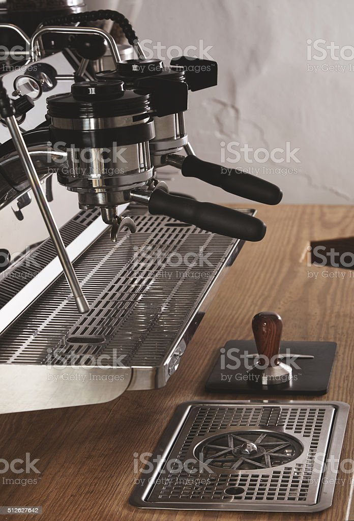 Side view professional coffee machine in shop stock photo