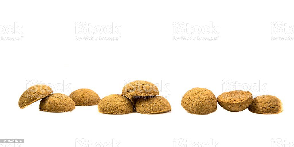 Side view Row of Pepernoten cookies stock photo