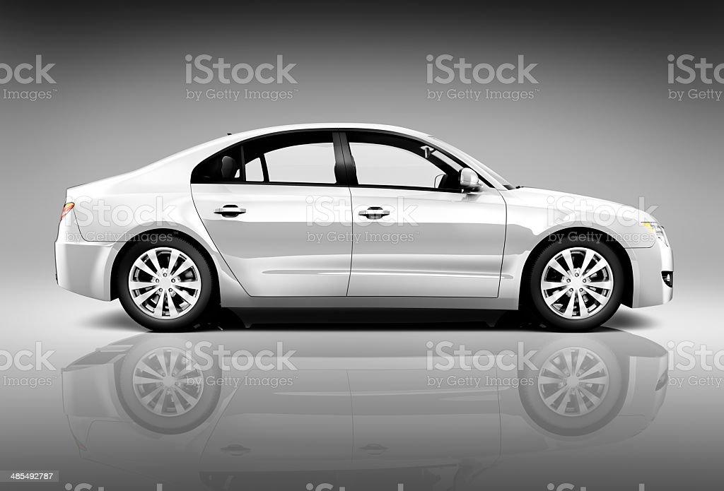Side View Studio Shot Of White Car stock photo