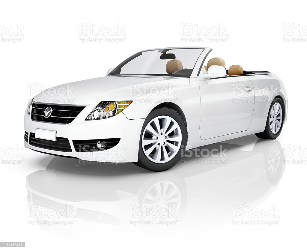 Side View Studio Shot Of White Convertible stock photo
