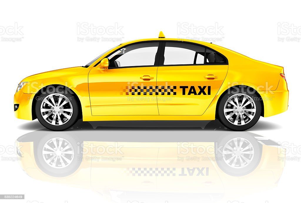 Side View Studio Shot Of Yellow Sedan Taxi Car stock photo