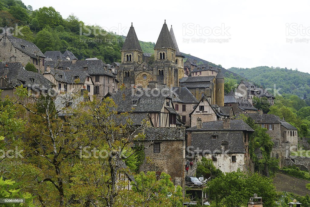 Side view to Conques, St James Way, France stock photo