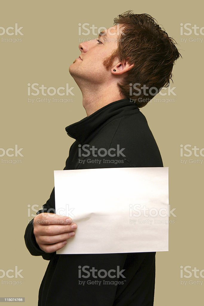 Side view with paper royalty-free stock photo