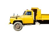 Side View : Yellow Truck Isolated on White Background