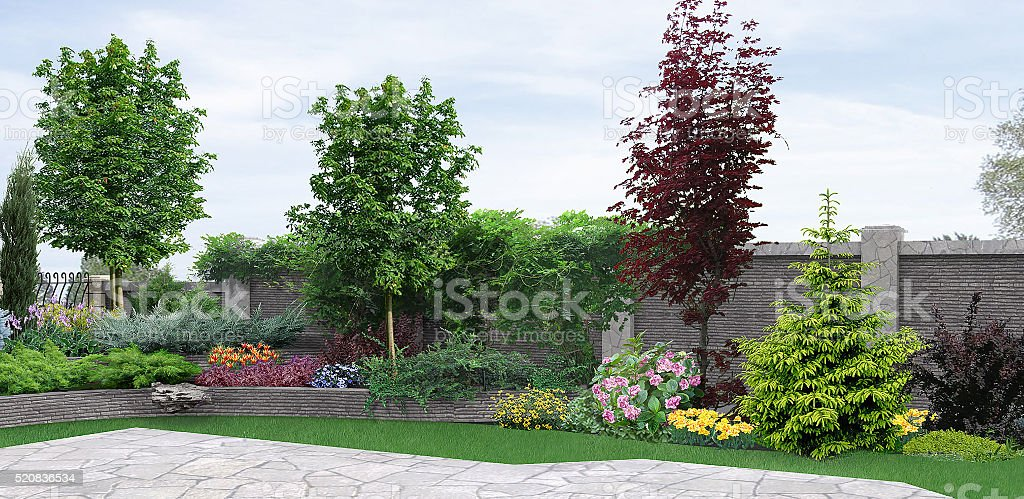 Side yard planting of greenery, 3d rendering stock photo