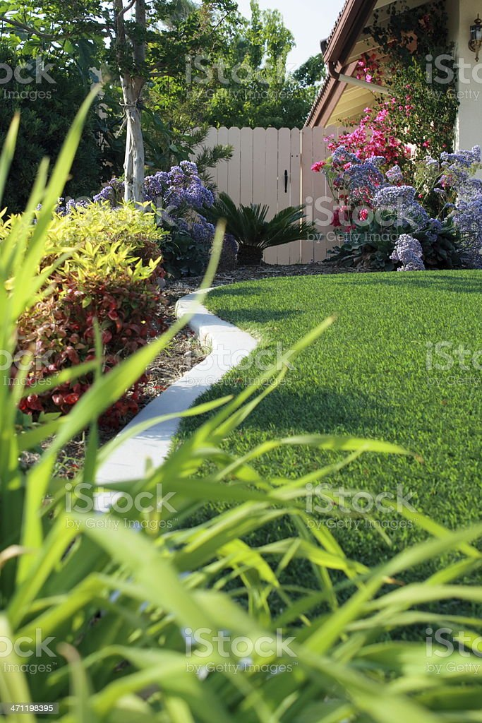 Side Yard Strip with Artificial Turf stock photo