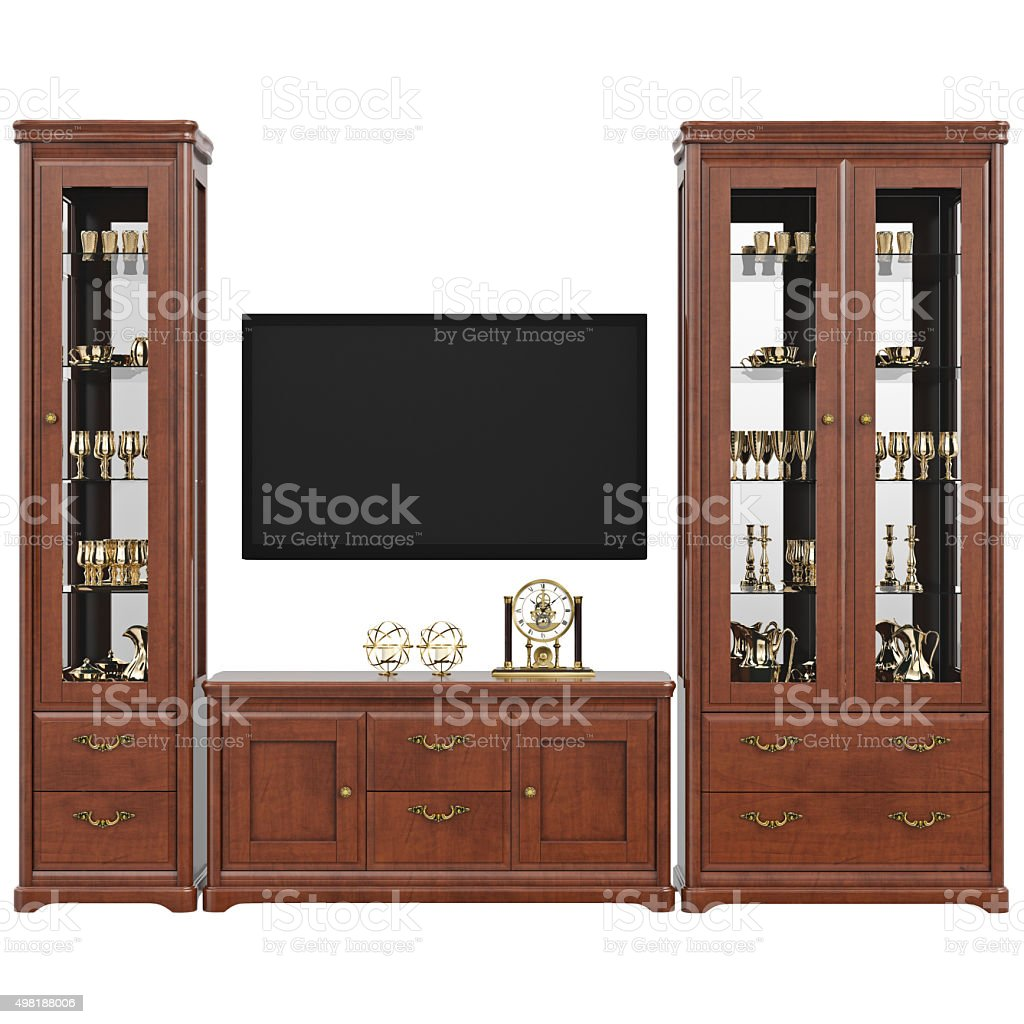 Sideboard with utensils dresser and TV, front view stock photo