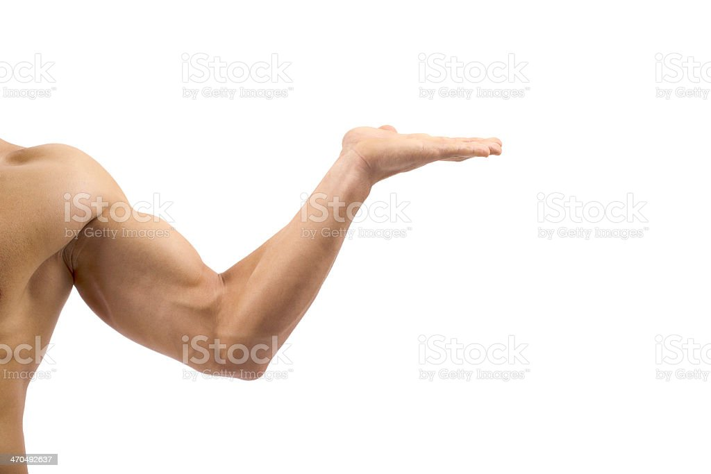 Sidebody and extended arm with palm up as if to hold a tray stock photo