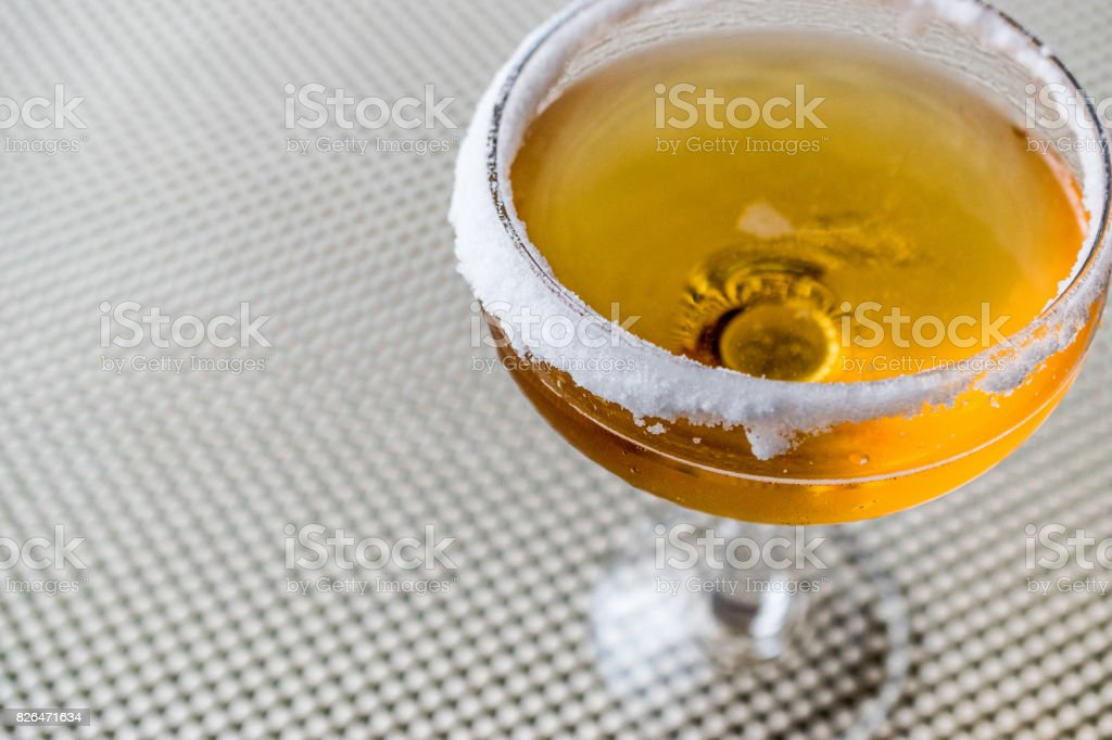 Sidecar Cocktail with a sugar rim. stock photo