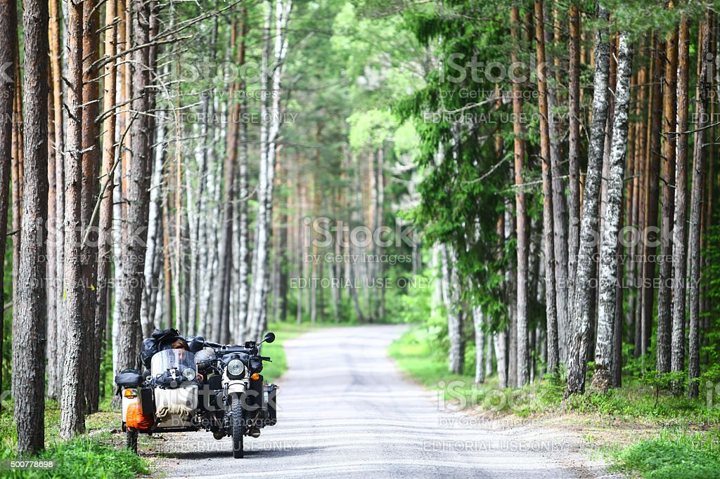 Sidecar in a forest stock photo