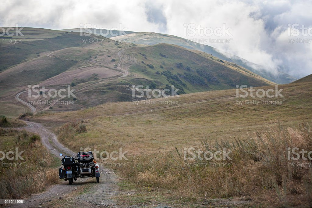 Sidecar motorcycle offroad stock photo