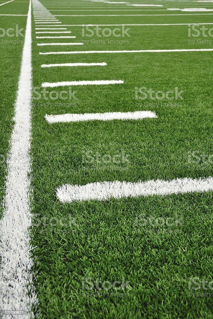 Sideline on American Football Field stock photo