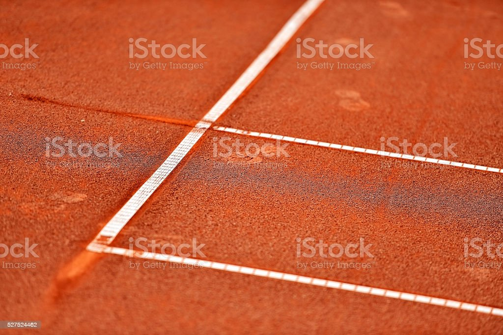 Sideline tennis clay court detail stock photo
