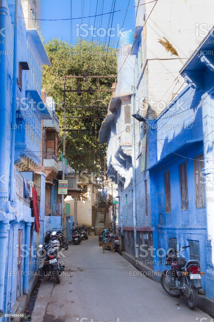 Sidestreet in the blue city stock photo