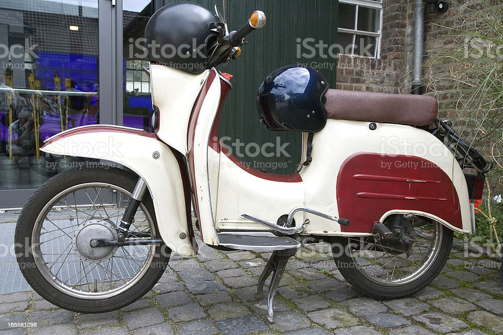Sideview of a moped oldtimer stock photo