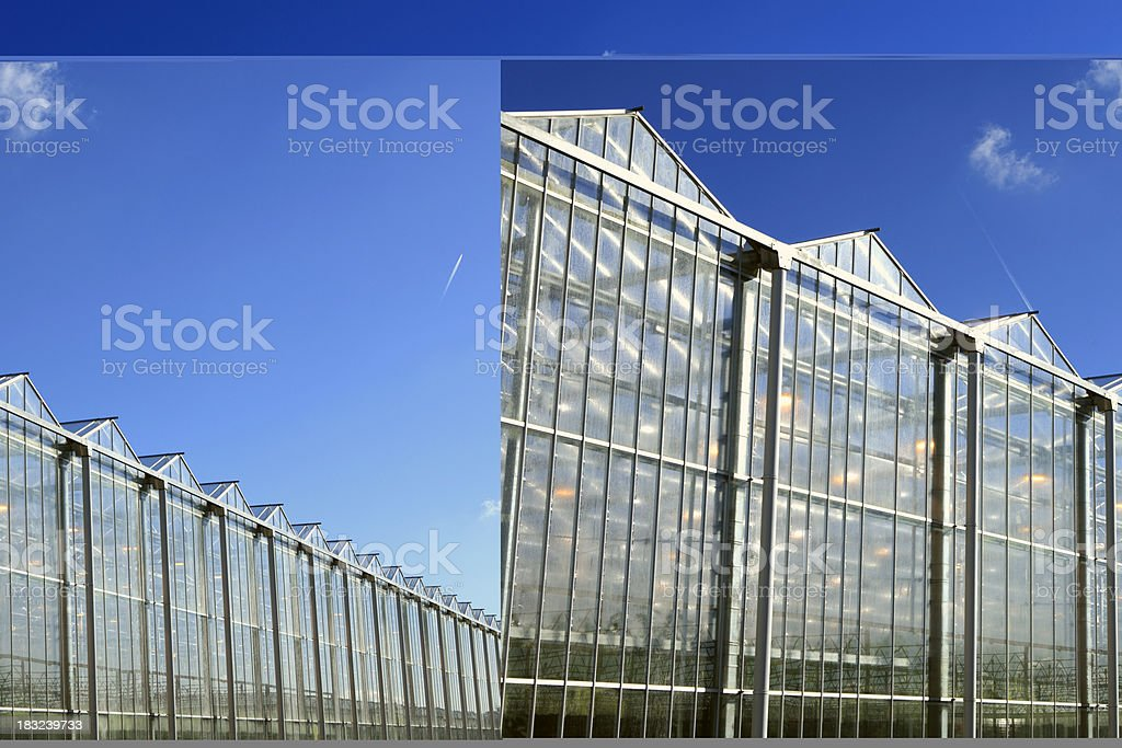 sideview of an agricultural greenhouse royalty-free stock photo