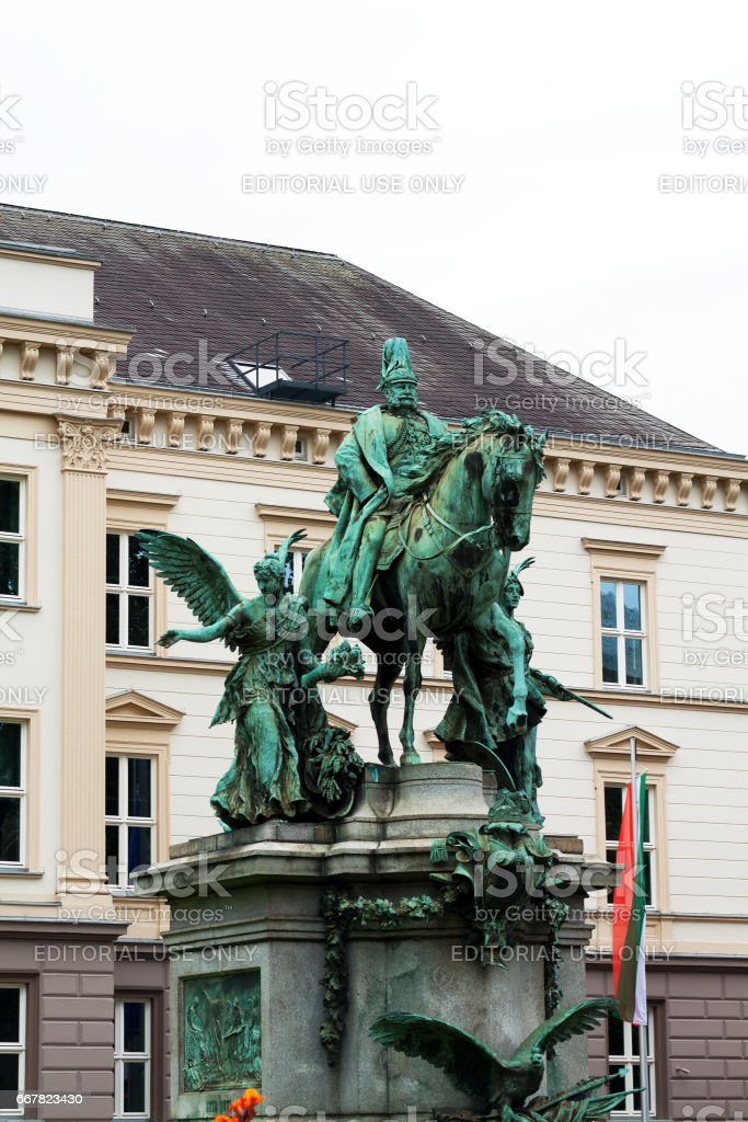 Sideview of Equestrian monumant of Emperor Wihelm I stock photo