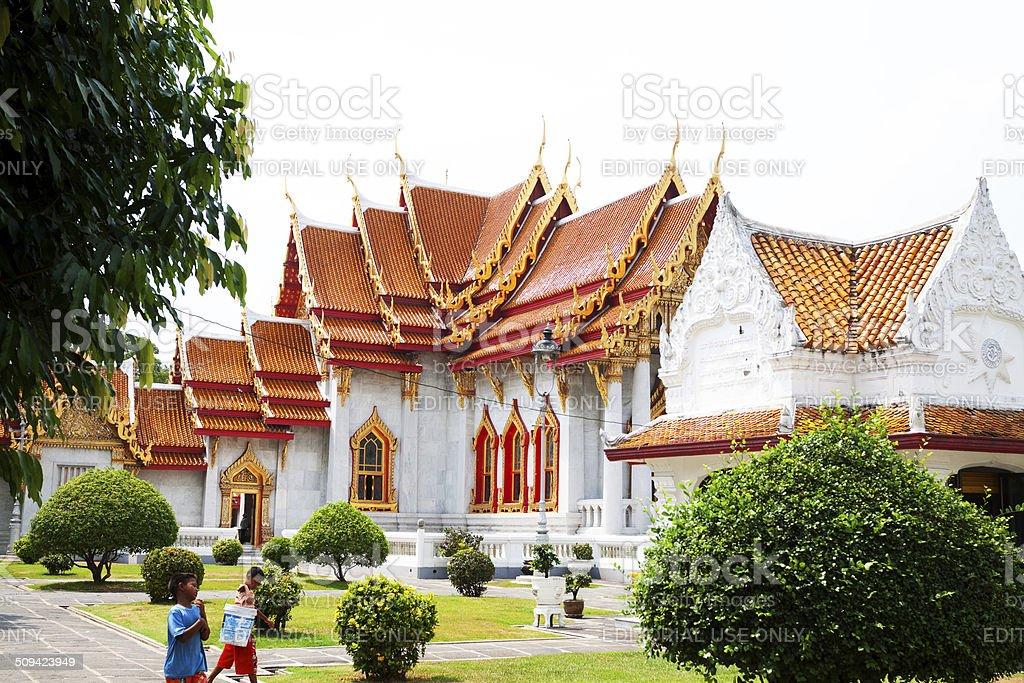 Sideview of Wat Benchamabophit stock photo