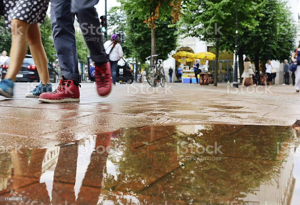 Sidewalk after the rain royalty-free stock photo