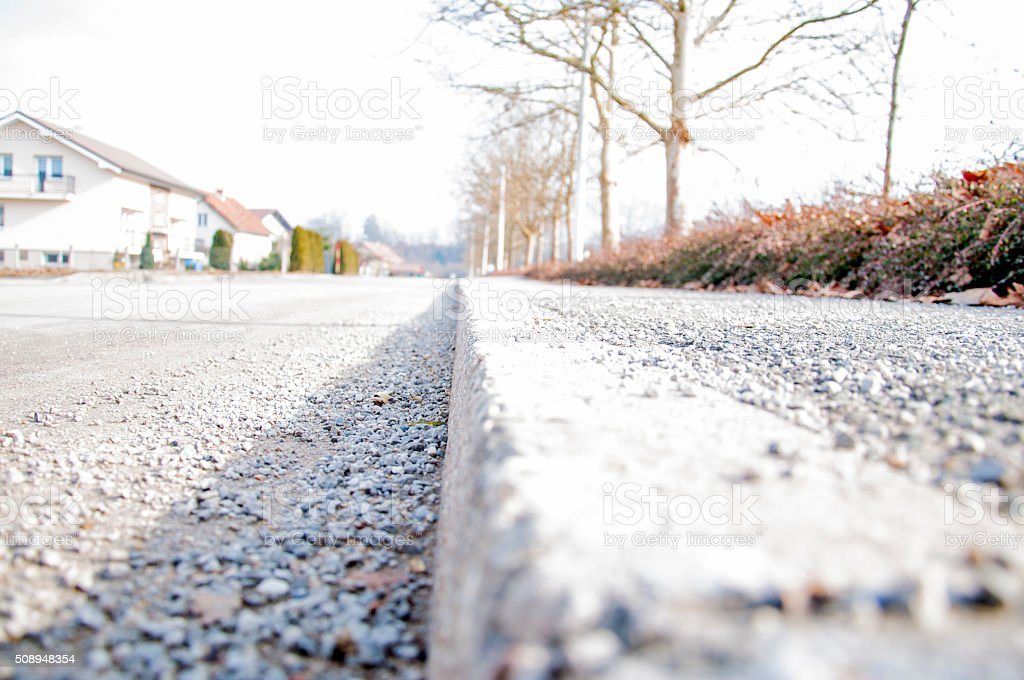 Sidewalk along the road, Dol pri Ljubljani stock photo