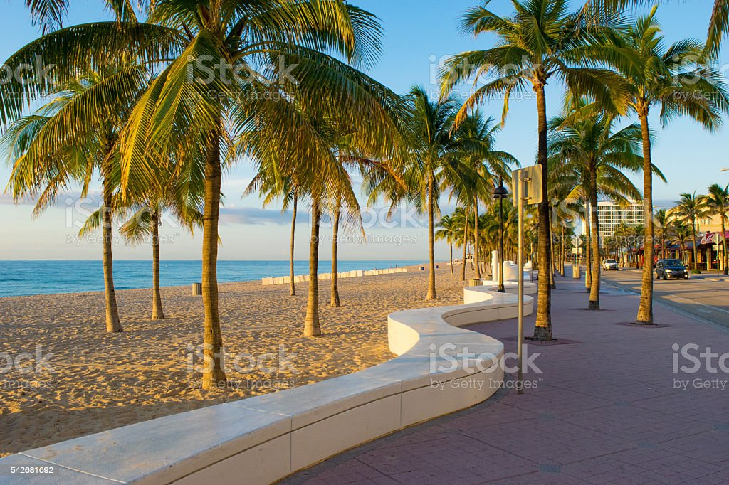 Sidewalk at Fort Lauderdale Beach stock photo