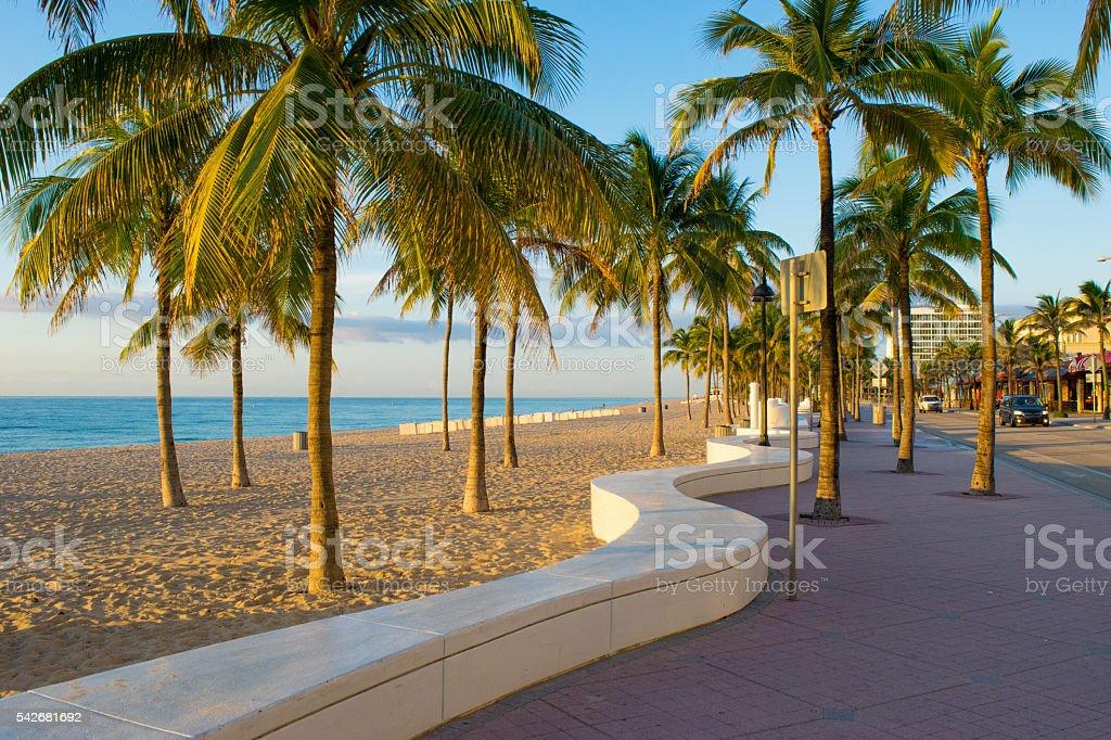 Sidewalk at Fort Lauderdale Beach stock photo