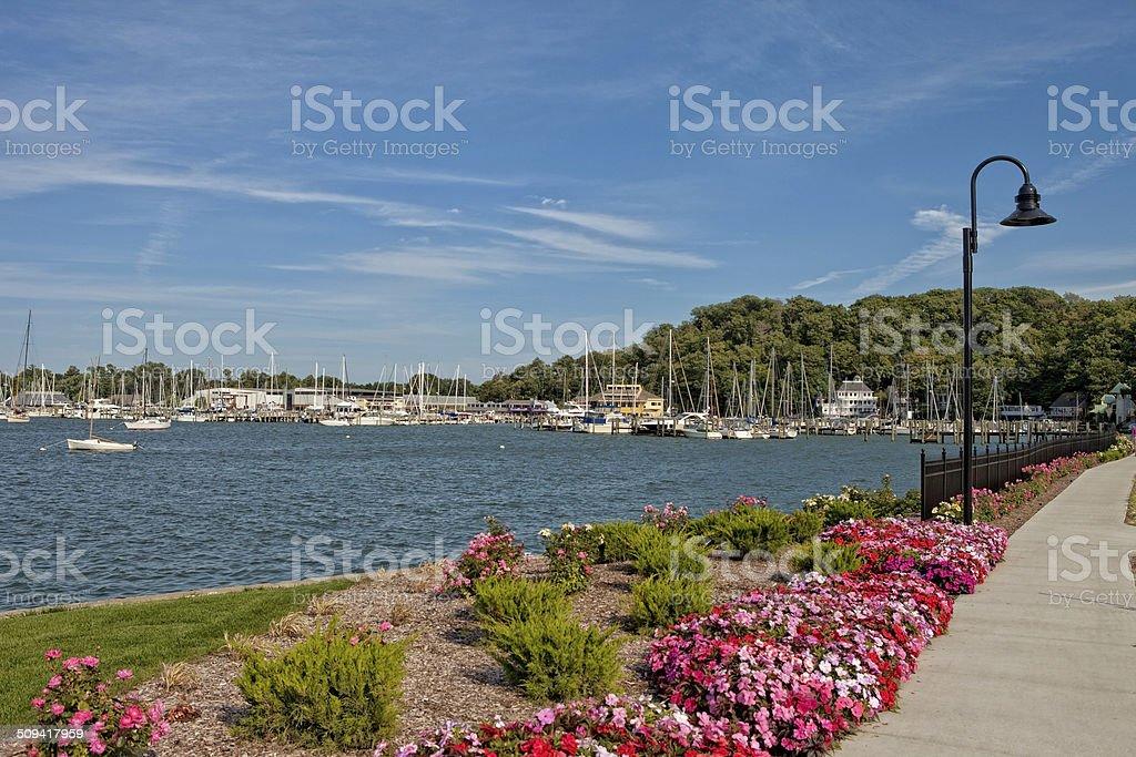 Sidewalk at Harbor stock photo