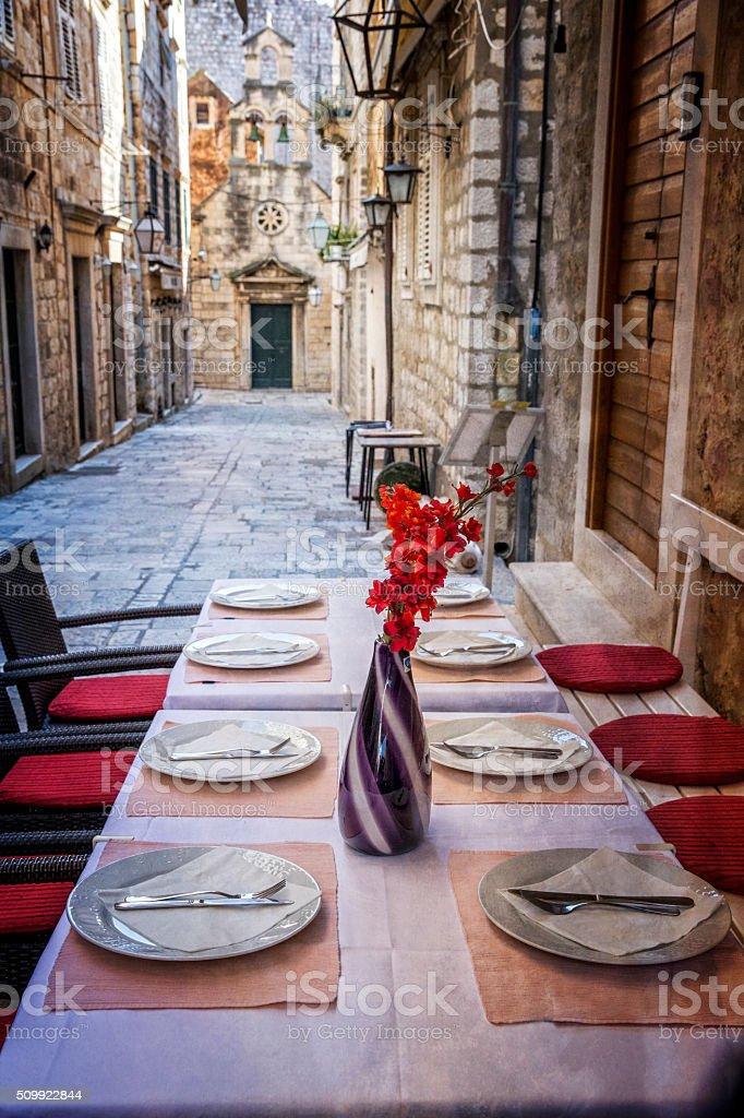 Sidewalk Cafe in Dubrovnik Croatia stock photo