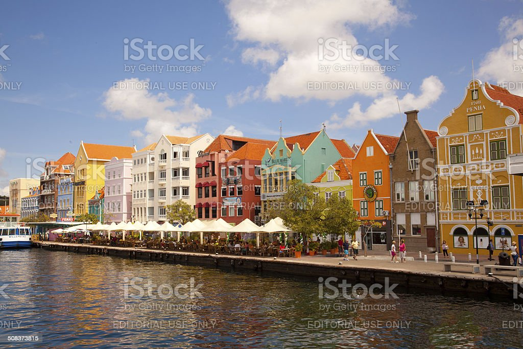 Sidewalk Cafe In front Of Colorful Buildings in Willemstad, Curacao stock photo