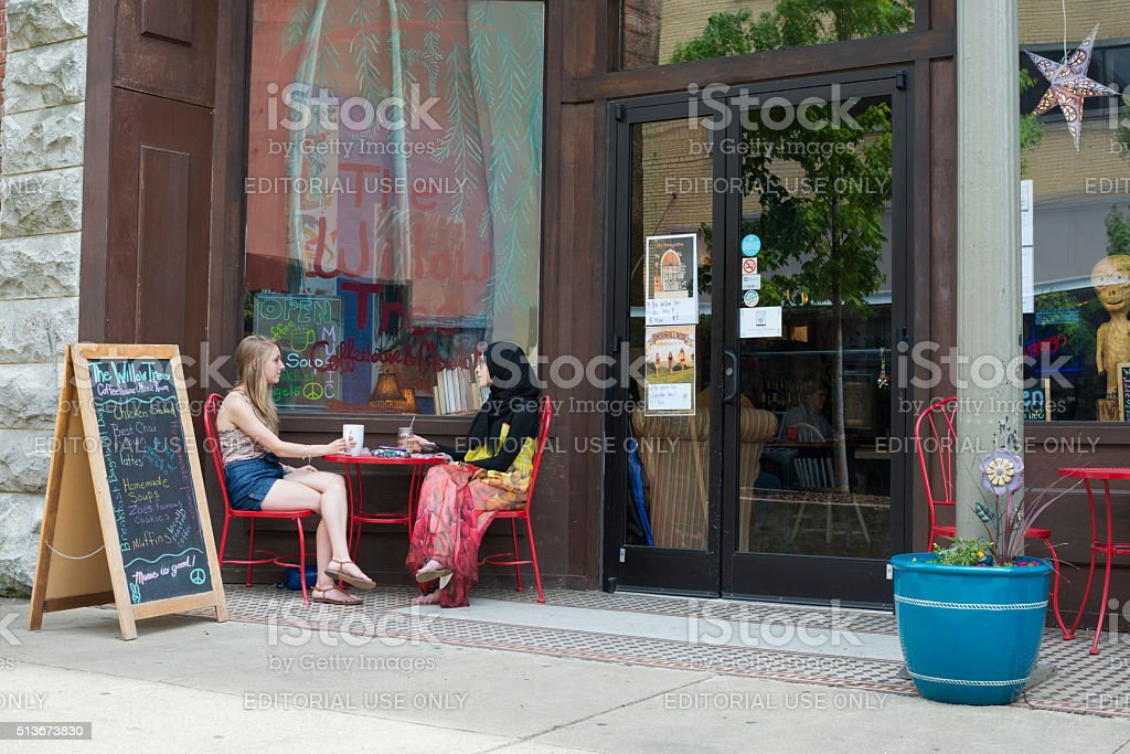 Sidewalk cafe in Johnson City, Tennessee stock photo