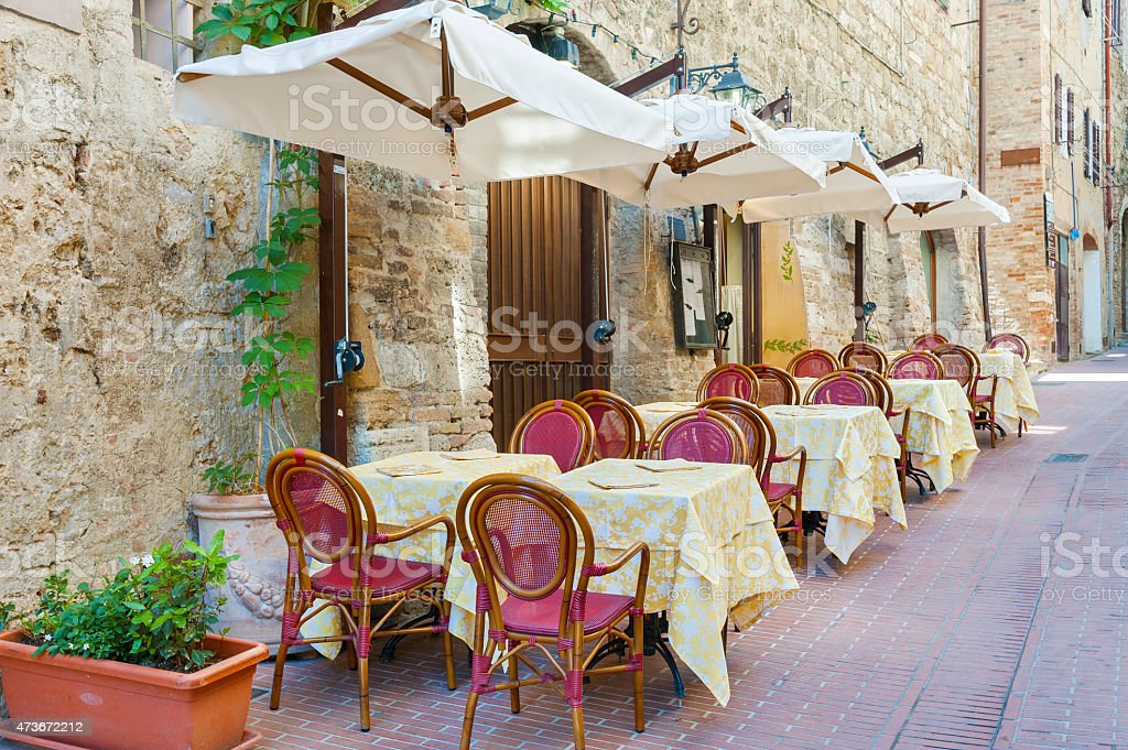 sidewalk cafe in Tuscany, Italy stock photo