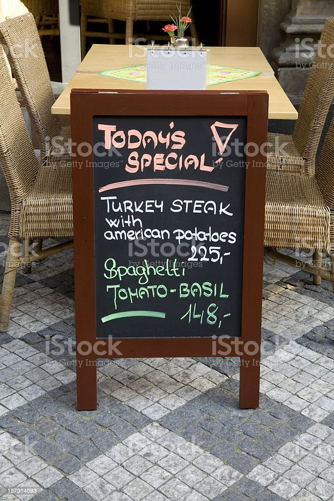 Sidewalk Cafe Menu in English royalty-free stock photo