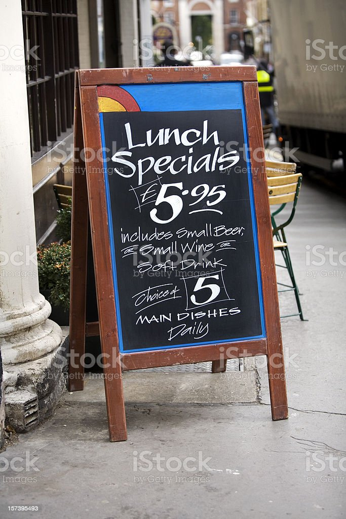 Sidewalk Cafe Menu London England stock photo