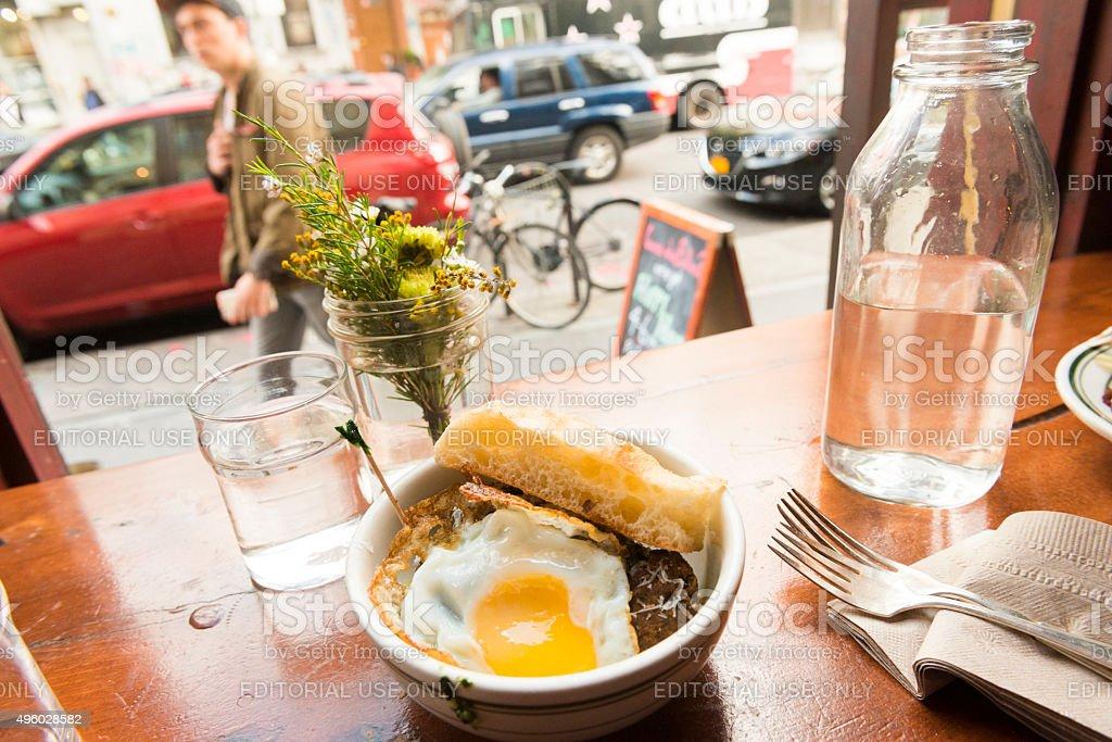 NYC Sidewalk Cafe Urban Brunch in Williamsburg American Food Culture stock photo