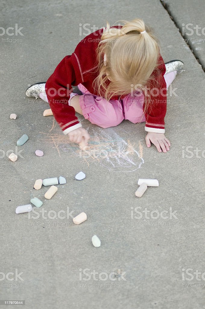 Sidewalk chalk royalty-free stock photo