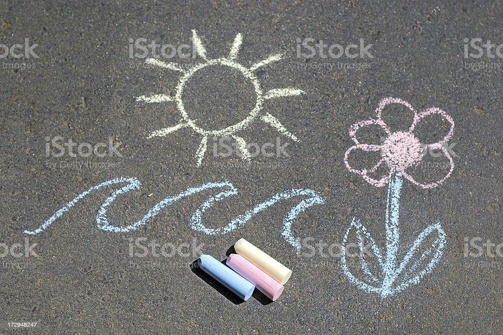 Sidewalk chalk stock photo