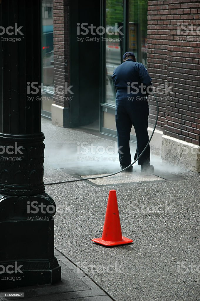 sidewalk cleaning royalty-free stock photo