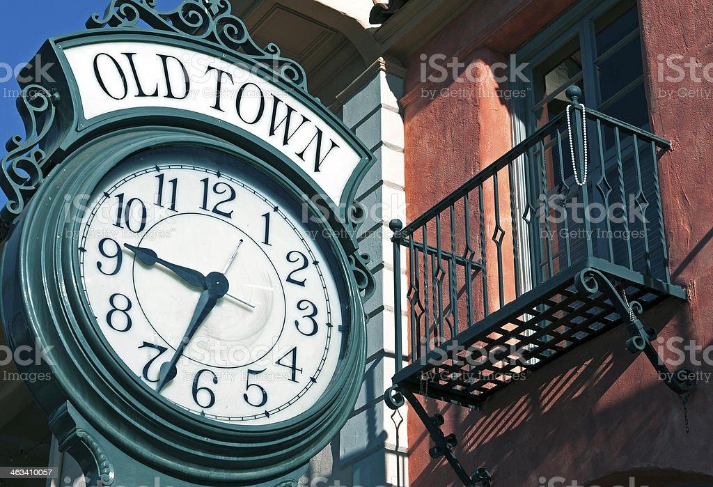 Sidewalk clock in Old Town Santa Barbara CA stock photo