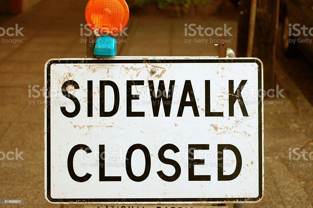 Sidewalk Closed stock photo