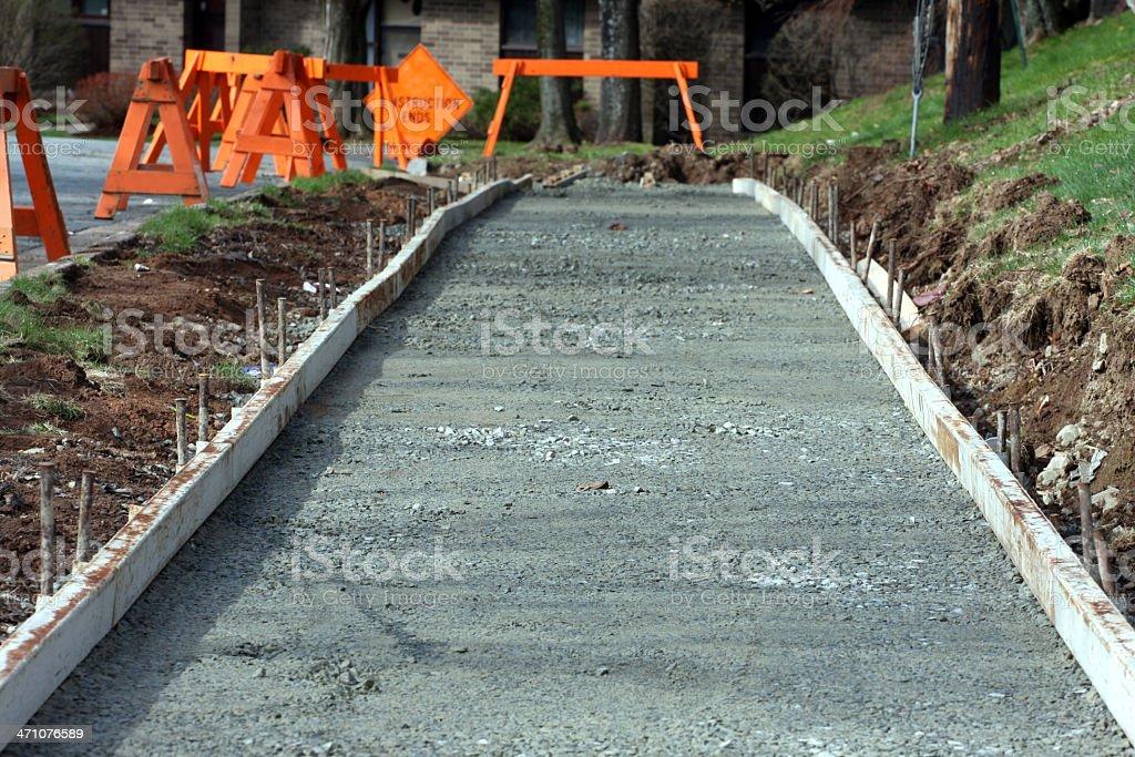 Sidewalk construction in progress royalty-free stock photo