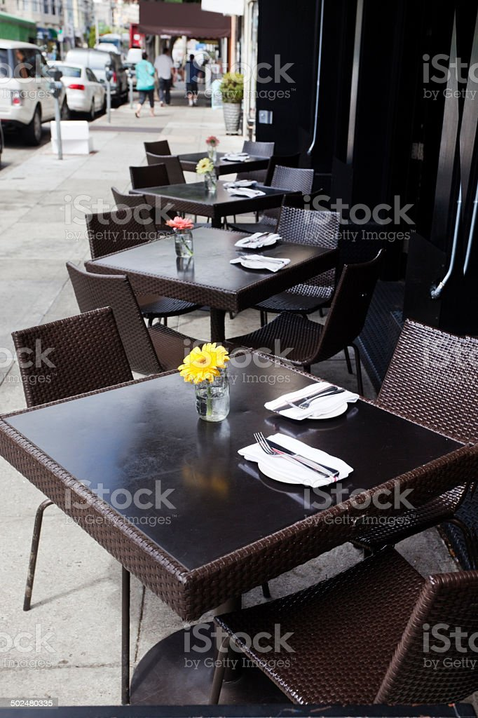 Sidewalk Dining stock photo