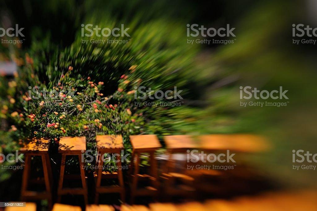 sidewalk furniture zone - Stock Image stock photo