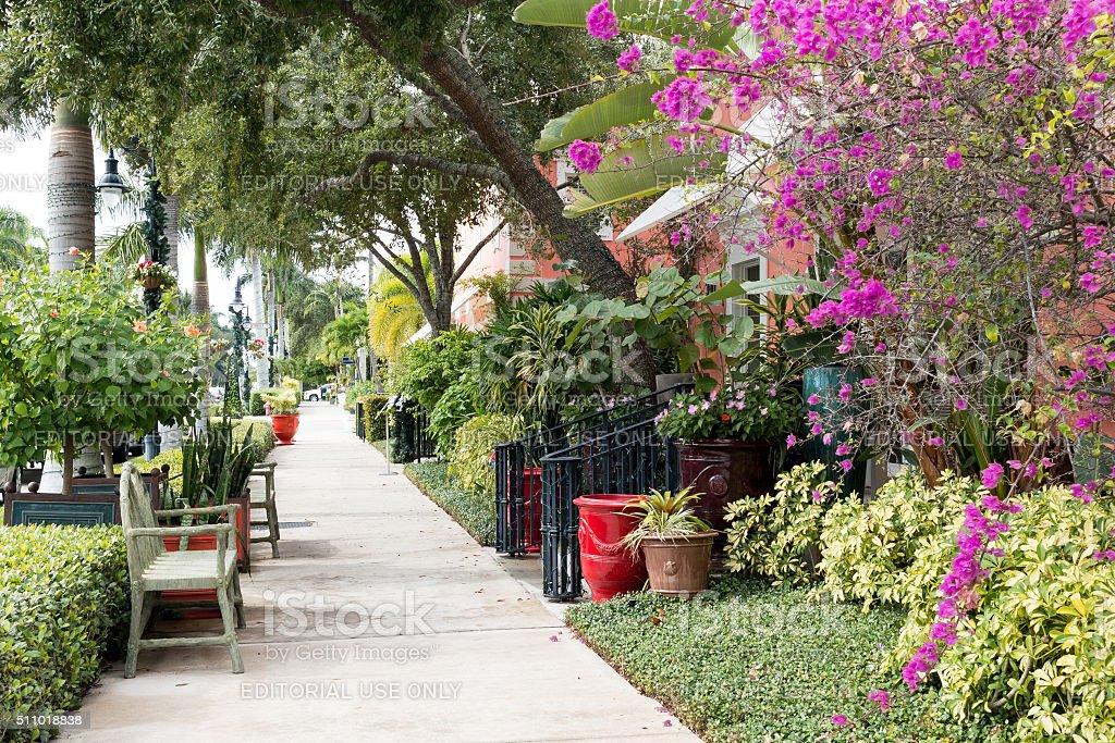 Sidewalk in Naples, Florida, USA stock photo